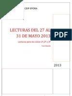 Lecturas Del 27 Al 31 de Mayo 2013