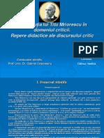 Contribuția lui Titu Mriorescu în domeniul criticii