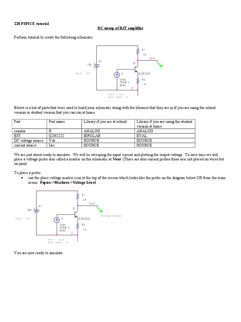 Pspice Bjtamp Dc Sweep | Bipolar Junction Transistor