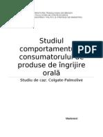 Comportamentul consumatorului de produse de ingrijire orala - studiu de caz Colgate Palmolive