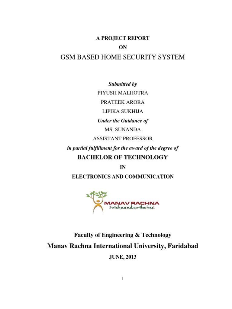 Project Report On Gsm Based Home Security System Alarm Well Circuit Diagram Door Light Emitting Diode