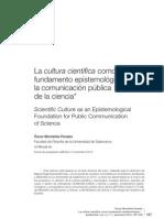 La cultura científica como fundamento epistemológico de la comunicación pública de la ciencia. Óscar Montañés