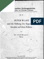 PETER WLAST und die Stiftung des Augus\inerklosters auf dem Zobten