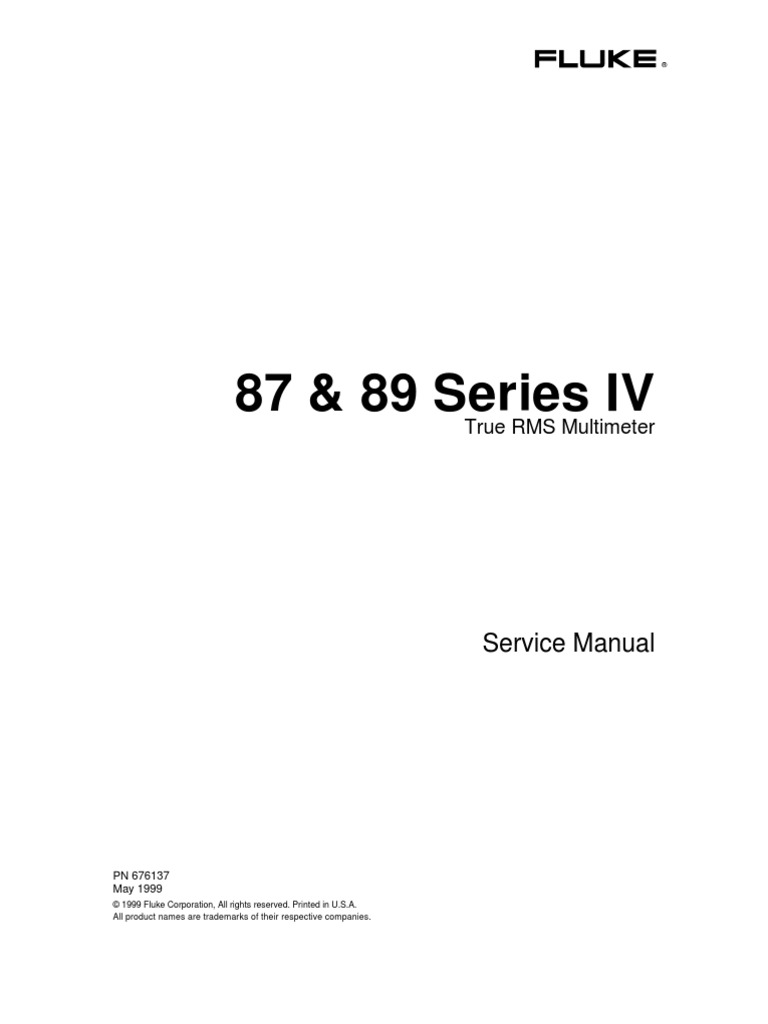 Fluke 87-89 Series IV (PN 676137 5-99)Service Manual