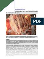 MERCOSUR - Argentina quedó en el último lugar del ranking de exportadores de carne