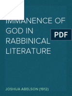 The Immanence of God in Rabbinical Literature - Joshua Abelson (1912)