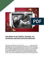THE WORDS OF MY PERFECT TEACHER - (1999) San Francisco) by Dzongsar Jamyang Khyentse Rinpoche