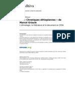 Gradhiva 955 6 Les Chroniques Ethiopiennes de Marcel Griaule