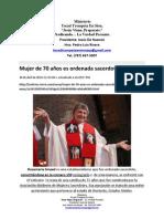 Mujer de 70 a+¦os es ordenada sacerdote en EE.UU.