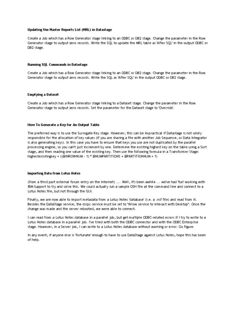 Updating the Master Reports List | Ibm Notes | Ibm Db2