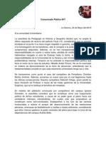 Comunicado Público Nº7 - 2013