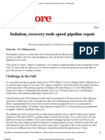 Isolation, Recovery Tools Speed Pipeline Repair - Offshore Mag