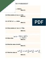 Trtrigonometry cbse x worksheet