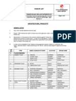 1.10 Vendor List-Architectural Products