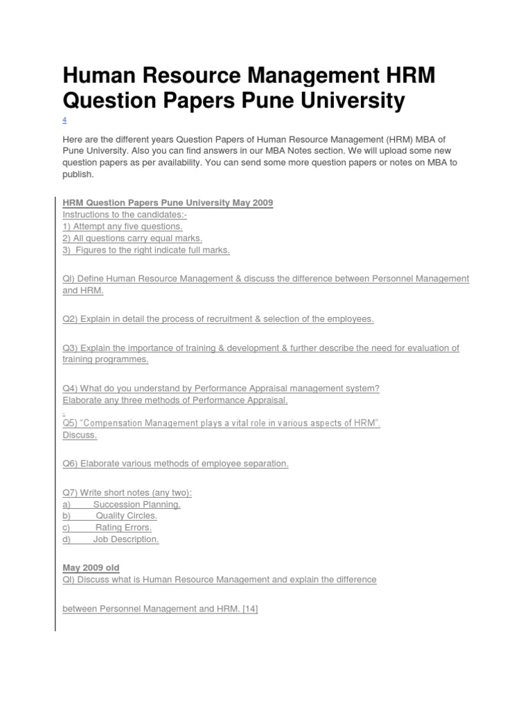 Human Resource Management HRM Question Papers Pune University