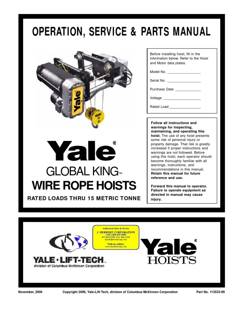 Operation Manual Yale Bearing Mechanical Switch 3 Ton Hoist Wiring Diagram For Electric