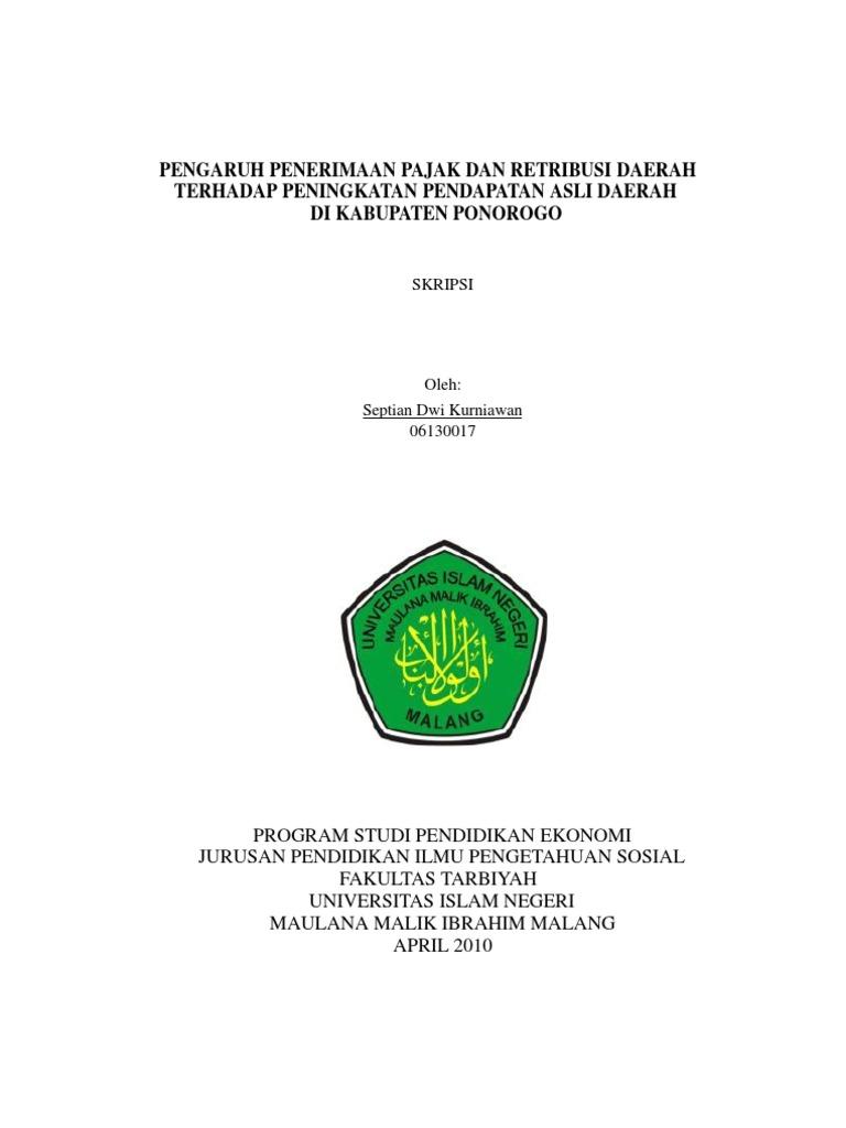 Contoh Skripsi Pajak Daerah Dan Retribusi Daerah Kumpulan Berbagai Skripsi