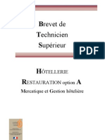 Bts Hotellerie Restauration Option A