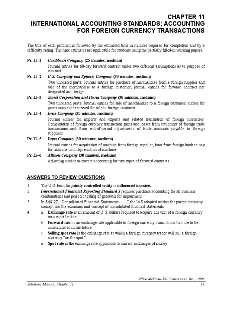 chapter 11 modern advanced accounting review q exr exchange rh es scribd com Accounting Manual Template Accounting Manual Table of Contents