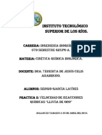 Práctica No. 2 - Cinética química biológica