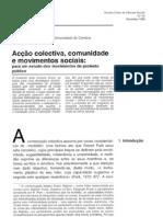 Acção colectiva, comunidade e movimentos sociais