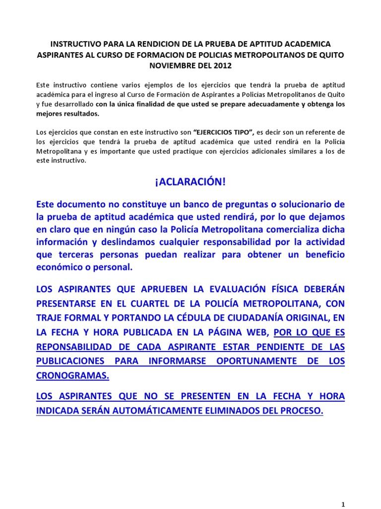 Instructivo Pruebas Academicas de La Policia Metropolita de