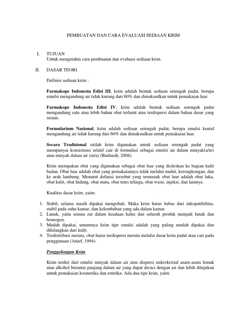 Pembuatan Dan Cara Evaluasi Sediaan Krim Pdf