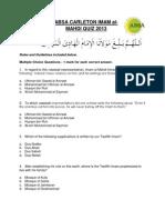 ABSA Carleton Imam Al-mahdi Quiz 2013