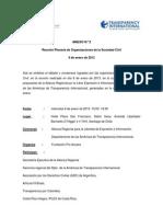 Reunión Plenaria de Organizaciones de la Sociedad Civil. 9 de enero de 2013