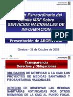 Reunión Extraordinaria del Comité MSF Sobre SERVICIOS NACIONALES DE INFORMACION