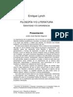 Lynch, Enrique - Filosofía y-o literatura. Identidad y-o diferencia. Presentación