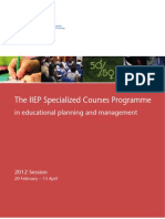The IIEP Specialized Education