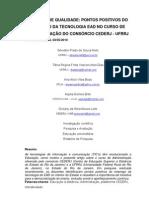 """Artigo """"Fatores de Qualidade Pontos Positivos do Emprego da Tecnologia EAD no Curso de Administração do Consórcio CEDERJ – UFRRJ"""""""