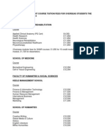 Postgraduate Taught Course Tuition Fees for Overseas Students the Academic Year 2013