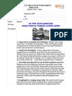 2009-09-04 10 Tips Keselamatan Pada Waktu Terjadi Gempa Bumi