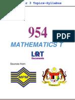 954 Math T [PPU_STPM] Semester 3 Topics-Syllabus