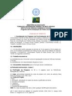 Edital Mestrado Selecao Politicas Sociais ICHS 160810