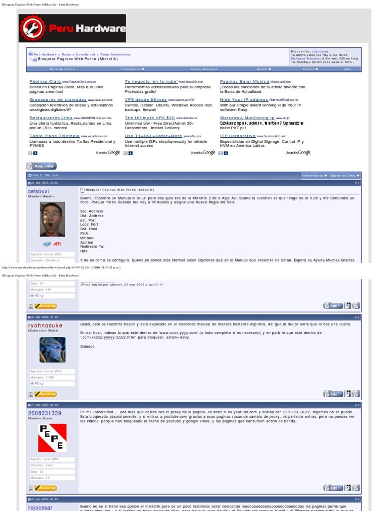 Nueva Web Porn bloquear paginas web porno (mikrotik) | dirección ip