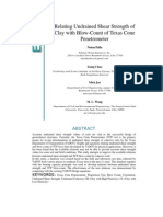 Relating Undrained Shear Strength of Clay With Blow-Count of Texas Cone Penetrometer