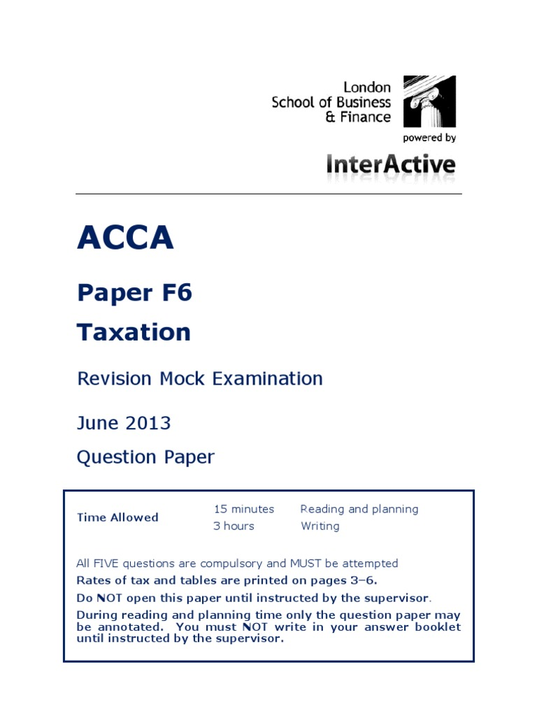 ACCA F6 Revision Mock June 2013 QUESTIONS Version 2 FINAL at 25
