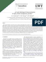 Nutritional and Rheological Characterization of Spray Dried Sweetpotato Powder
