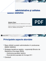 Administrative Sources and Quality of Statistics RO
