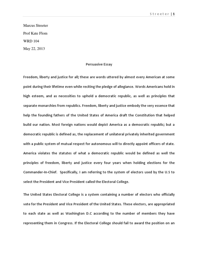 Persuasive essay draft 1 electoral college united states