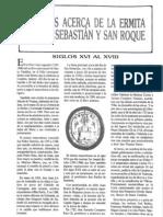 Noticias acerca de la ermita de San Sebastián y San Roque. (Siglos  XVI al XVIII)