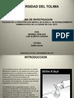 """""""Errores en la prescripción medica aplicado aun establecimiento farmacéutico de la ciudad de cali 2013"""""""