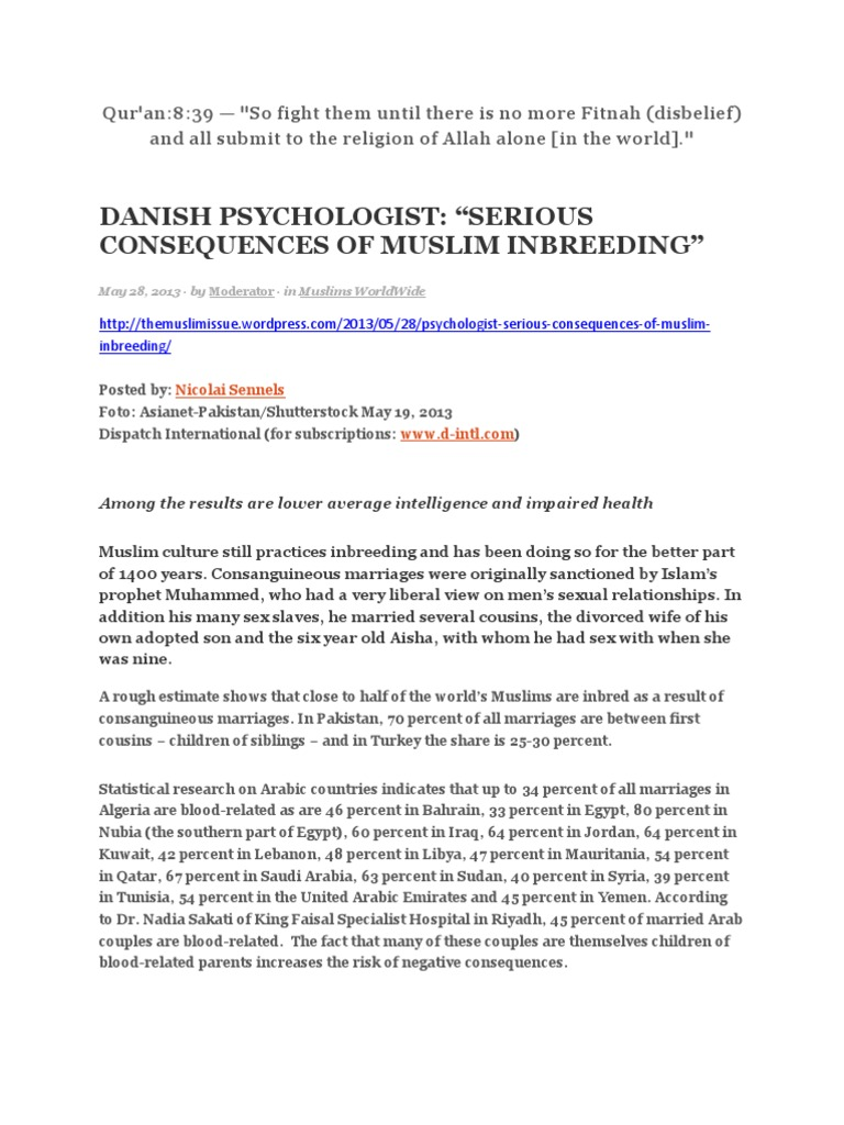 Danish Psychologist: ―Serious Consequences Of Muslim Inbreeding‖
