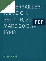CA Versailles, 10ème Ch. sect.. B, 22 mars 2013, n° 161/13