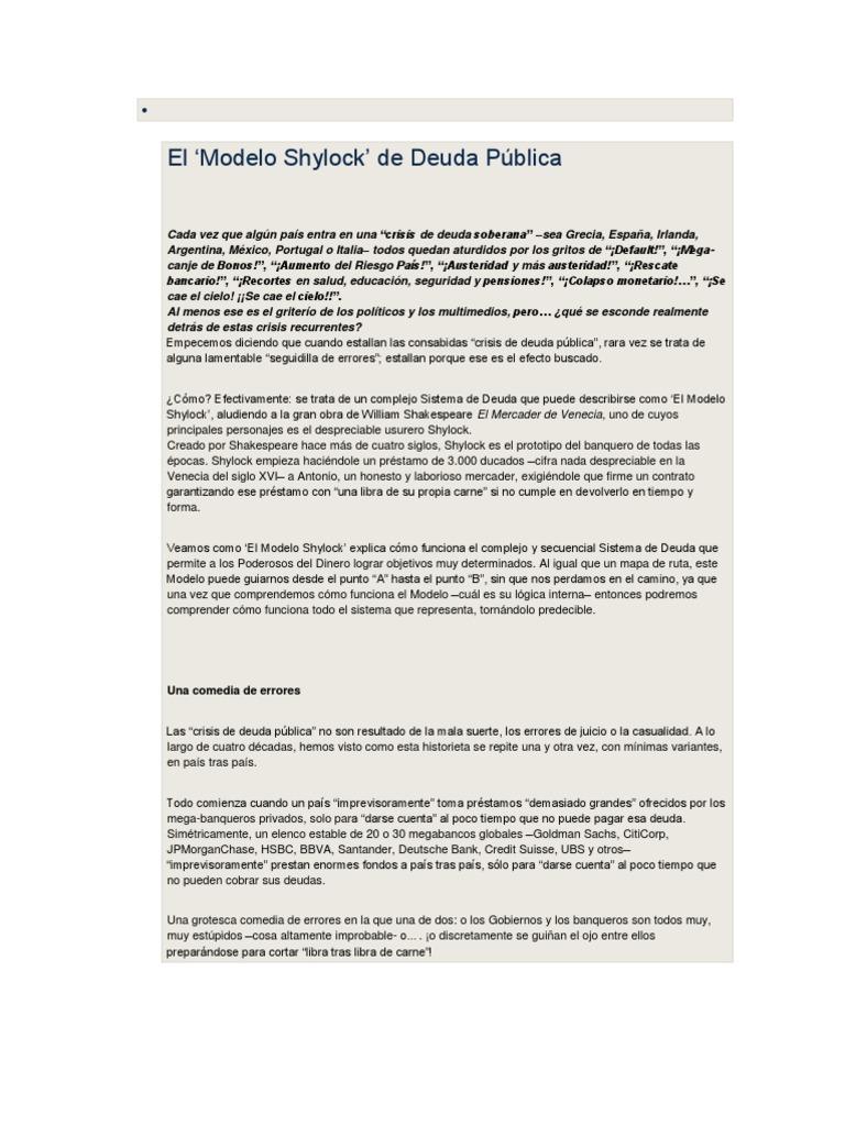 El modelo Shylock de deuda pública
