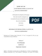 Ley 40 y 261 Reformas e Reformas e Incorporaciones a La Ley Munipales