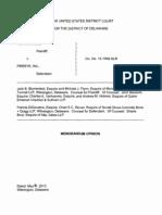 Fortinet, Inc. v. FireEye, Inc., Civ. No. 12-1066-SLR (D. Del. May 16, 2013).
